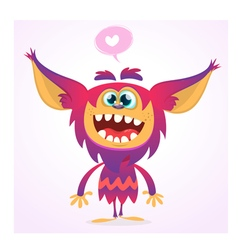Happy cartoon gremlin monster vector image