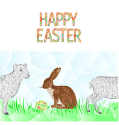 happy easter border seamless background hare vector image
