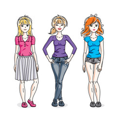 happy young women group standing wearing casual vector image