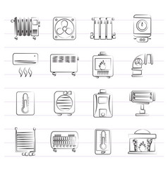 home heating appliances icons vector image