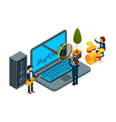 home record studio isometric guys record song on vector image