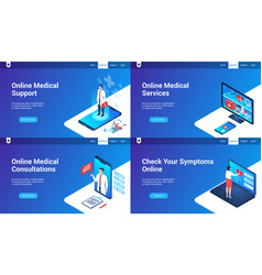 isometric landing page set 03 vector image