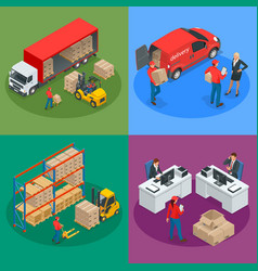 Isometric logistics and delivery concept delivery vector