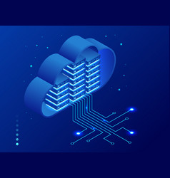 isometric modern cloud technology and networking vector image