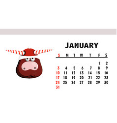 january 2021 horizontal calendar with bulls or vector image
