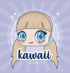 kawaii girl icon vector image
