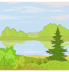 landscape forest river vector image