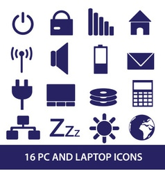 laptop and pc indication icons eps10 vector image