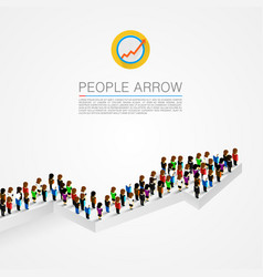 Large group people shape arrow vector