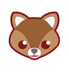 Line color happy fox head cute animal vector