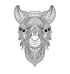 Llama head coloring book vector