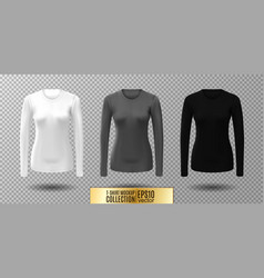 Long sleeve blank shirt white gray and vector
