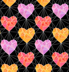 Low poly hearts seamless pattern vector