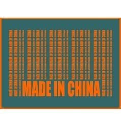 Made in China text and bar code from same words vector