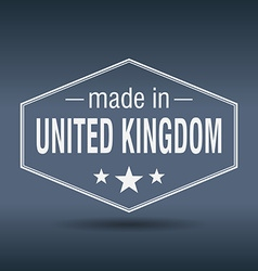 Made in United Kingdom hexagonal white vintage vector
