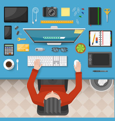 male workplace top view design vector image