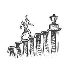 man walk up stairs to trophy career growth sketch vector image