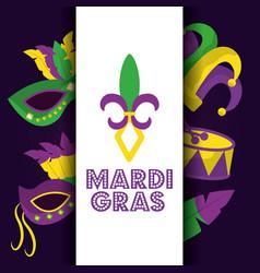 Mardi gras card dot lettering flor de lis mask vector