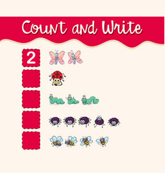 math worksheet template with count and write with vector image