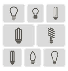 monochrome icons with lamps vector image