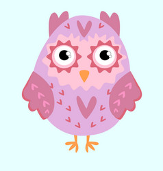 Nice pink owl with ears and hearts vector