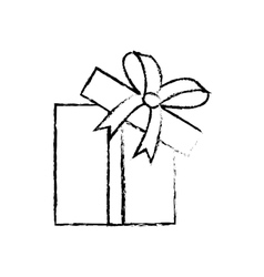 Open gift box ribbon parcel shopping sketch vector
