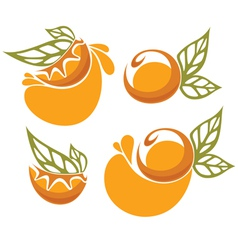 Orange juice and fruit sticker vector