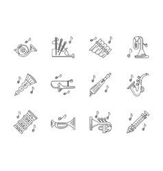 Orchestra melodies flat line icons set vector image