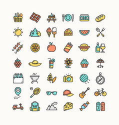picnic color thin line icon set vector image