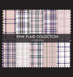 Pink plaid tartan seamless pattern collection vector