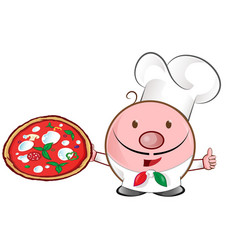 pizza chef mascot cartoon vector image