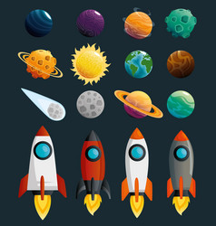 planets and rockets of the solar system scene vector image