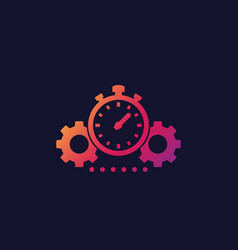 productivity icon with stopwatch and cogwheels vector image