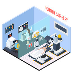 robotic surgery isometric composition vector image