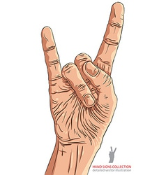 Rock on hand sign rock n roll hard rock heavy vector image