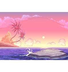 Romantic seascape vector