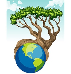 Save the world theme with earth and tree vector