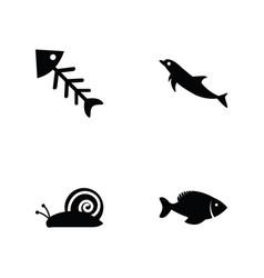 sea animals glyph vector image