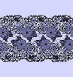 Seamless lace blue textured ribbon horizontal vector