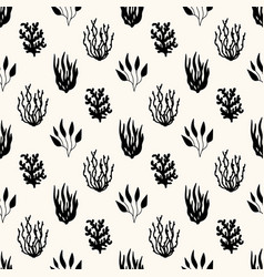 Seamless marine pattern underwater plants and vector