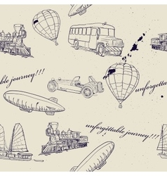 Seamless texture with set of vintage transport vector image