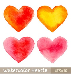 set colorful watercolor hearts vector image