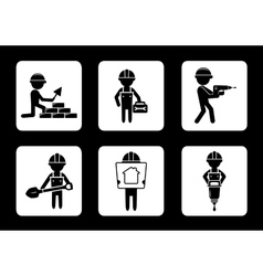 set construction icons with builders vector image