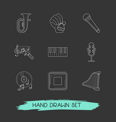 set of audio icons line style symbols with vector image