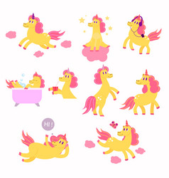 set of cute unicorns playing listening to music vector image