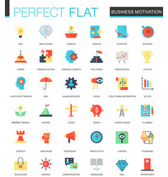 set of flat business motivation icons vector image