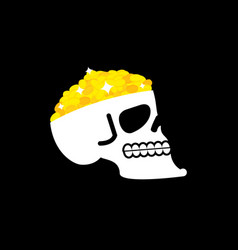Skull with gold pirate casket head of skeleton vector