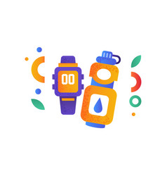 smart watch and warwe bottle sport accessories vector image