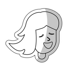 smiling girl female outline vector image