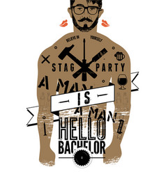 Stag party typographic poster tattooed man body vector